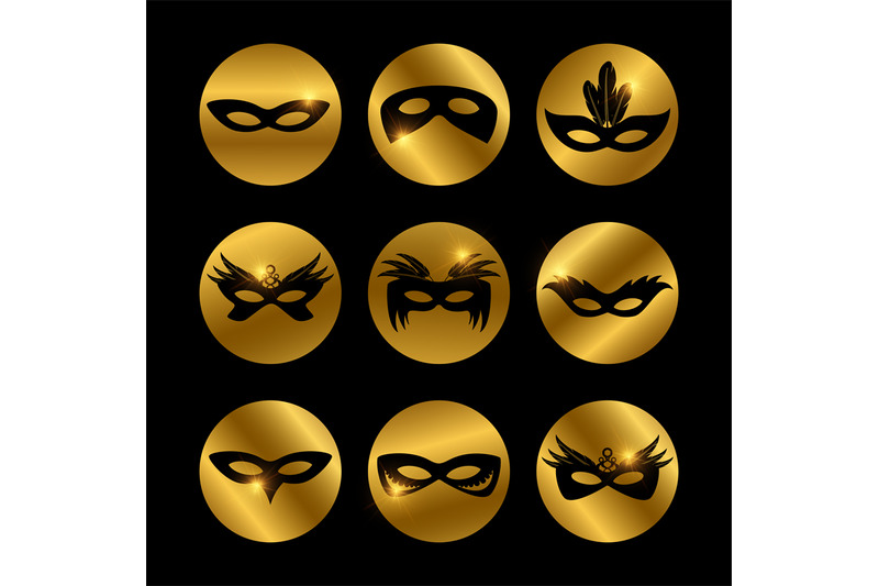 party-face-masks-icons-with-glowing-elements