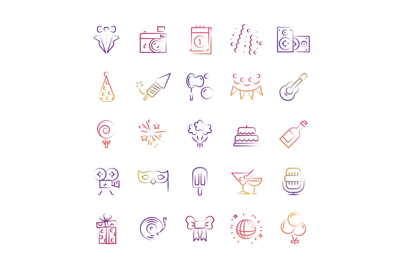 event-party-birthday-outline-icons-set