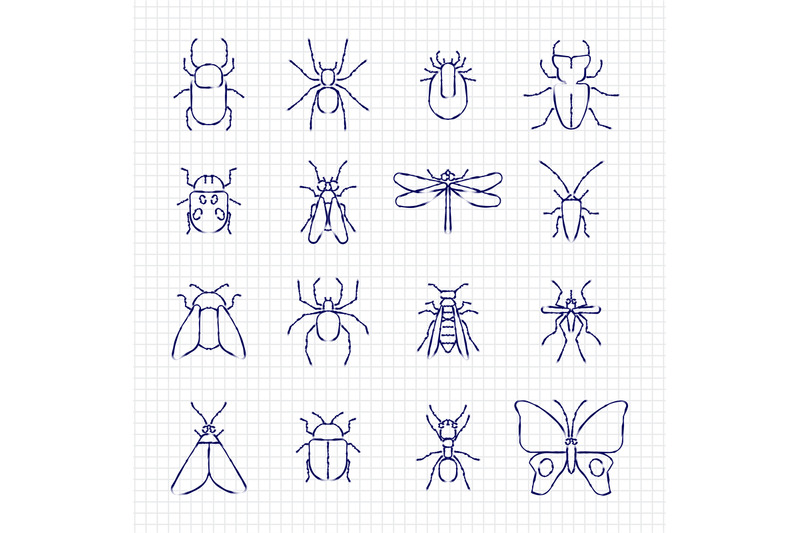 sketch-drawing-line-insect-icons-collection