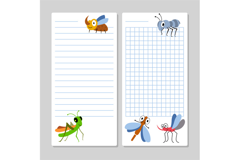 lined-notebook-pages-template-with-cartoon-insects