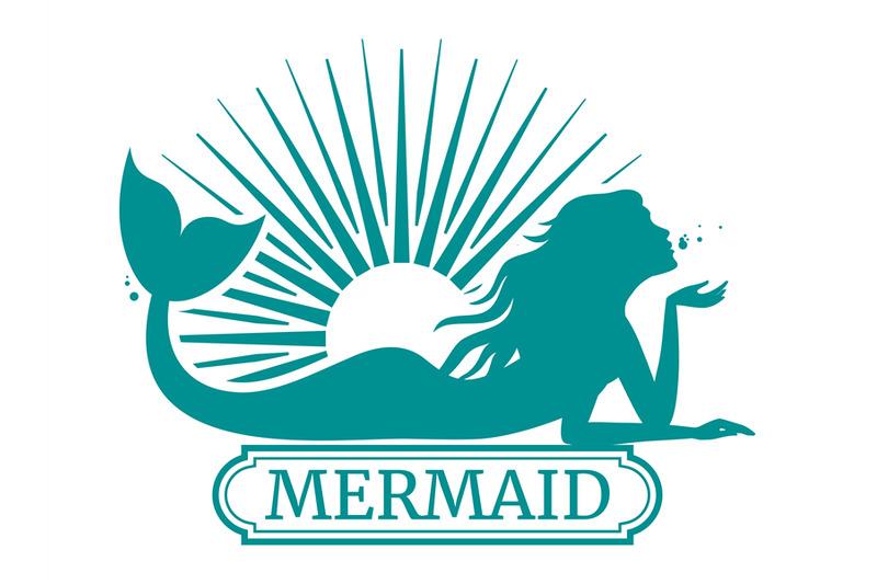 mermaid-silhouette-and-sun-label-design