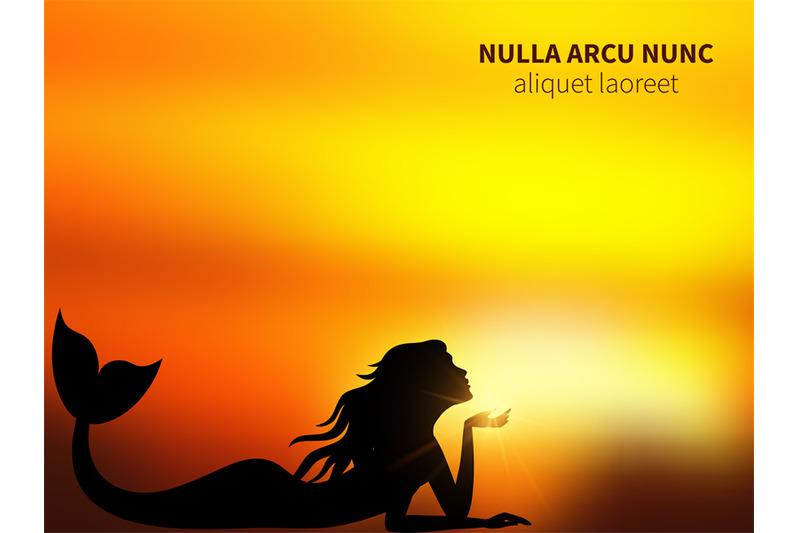 romantic-mermaid-silhouette-on-sunrise