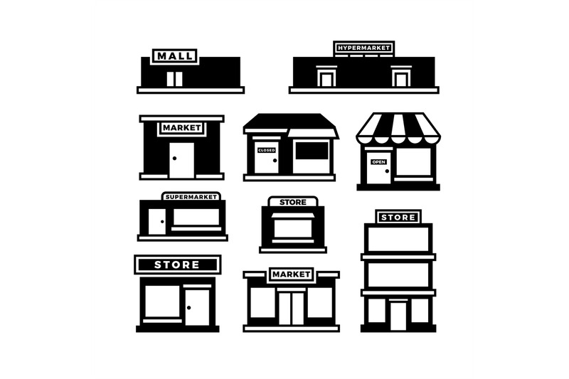 mall-and-shop-building-icons-shopping-and-retail-pictograms-supermar