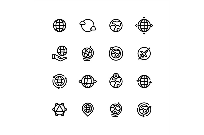 global-world-globe-outline-icons-earth-map-and-travel-simple-line-v