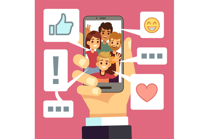 video-content-sharing-on-smartphone-screen-friends-comment-and-like-v