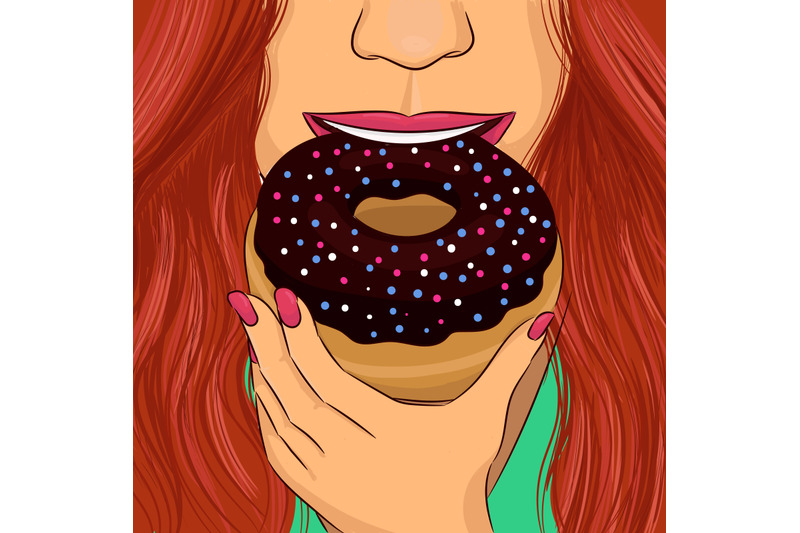 woman-eat-donut-with-chocolate-glaze