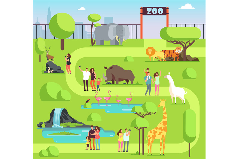 cartoon-zoo-with-visitors-and-safari-animals-happy-families-with-kids