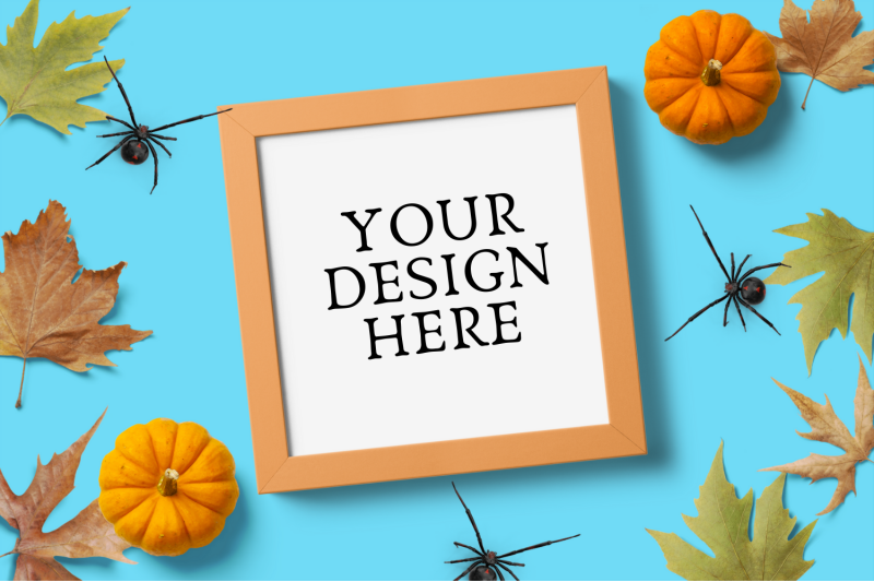 Free Halloween Square Frame Mock Up (PSD Mockups)