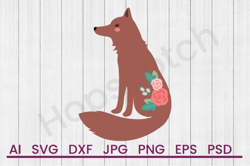 flower-fox-svg-file-dxf-file