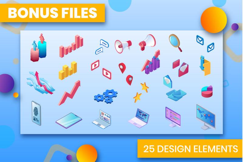 marketing-tools-isometric-design