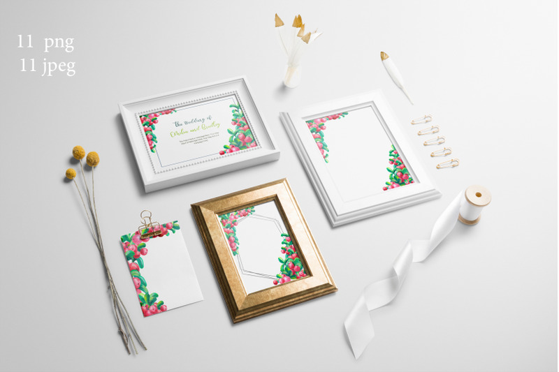 frames-with-cowberry-leaves-and-berries-watercolor-illustration