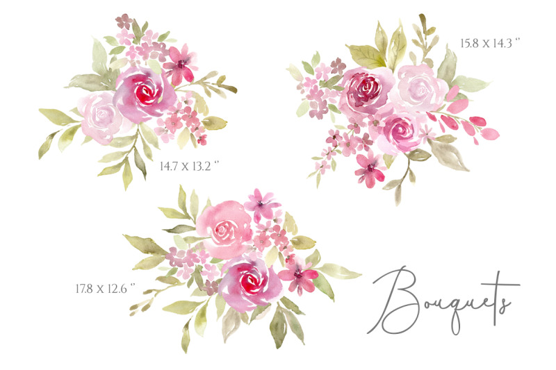 pink-watercolor-flowers-bouquets-pattern-png