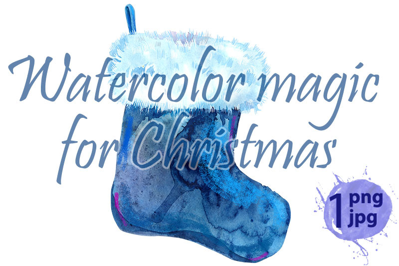 christmas-blue-sock-with-white-fur-watercolor-illustration