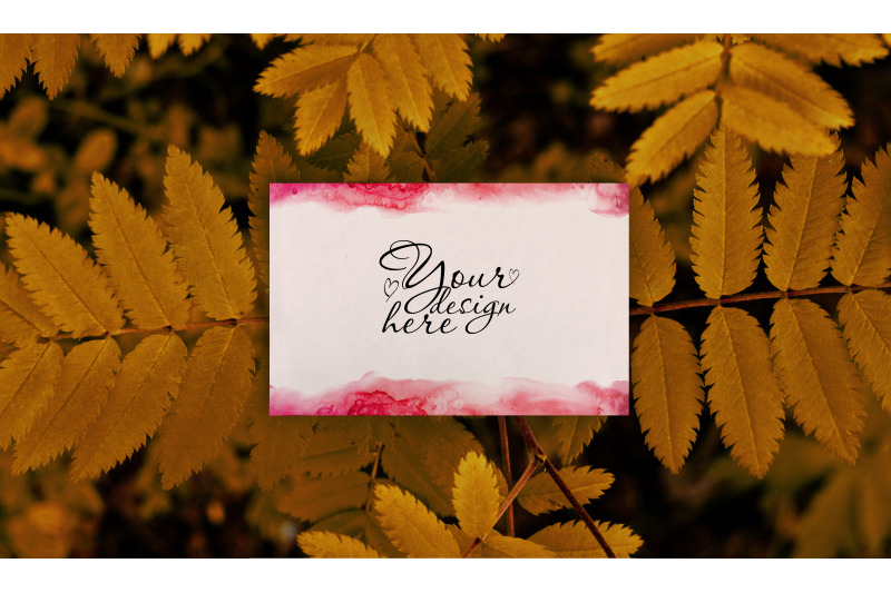 Free Autumn bussines card mockup on tree (PSD Mockups)