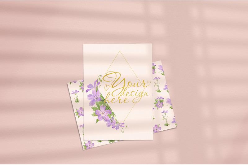 Free Card mockup 5x7 with window shadow overlay (PSD Mockups)