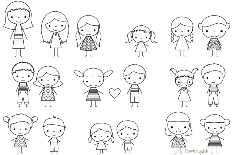 Children stick figure digital stamp, Cute boy and girl ...