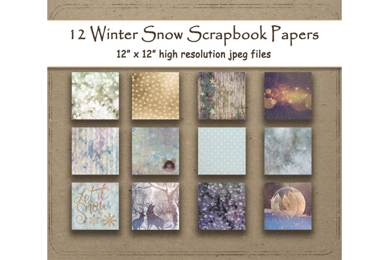 rustic-winter-snowflake-digital-papers-12-quot-x-12-quot-texture-snow-woodland