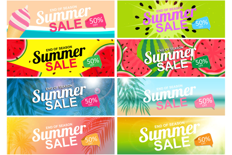 collection-of-nbsp-8-nbsp-abstract-summer-sale-background-watermelon-and-palm