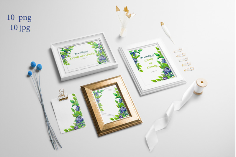 frames-with-leaves-and-berries-of-blueberries-watercolor