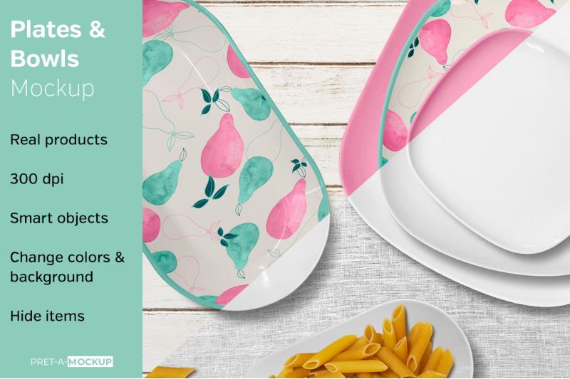 Free Plates and Bowls Mockup (PSD Mockups)
