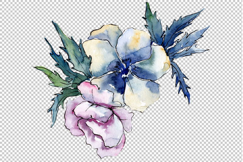stylish-bouquet-of-flowers-cleopatra-watercolor-png