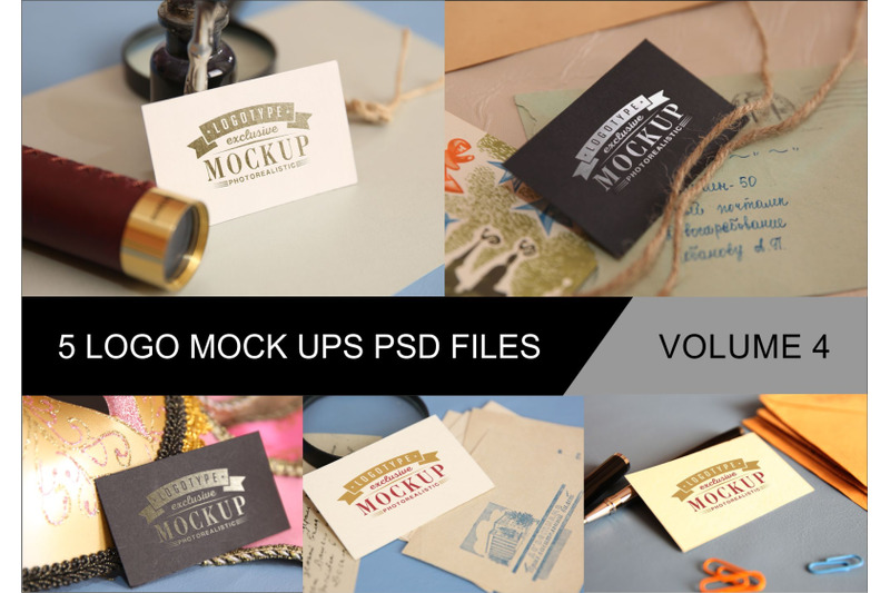 Free Photo Realistic Mock-ups Set of 5 V4 (PSD Mockups)