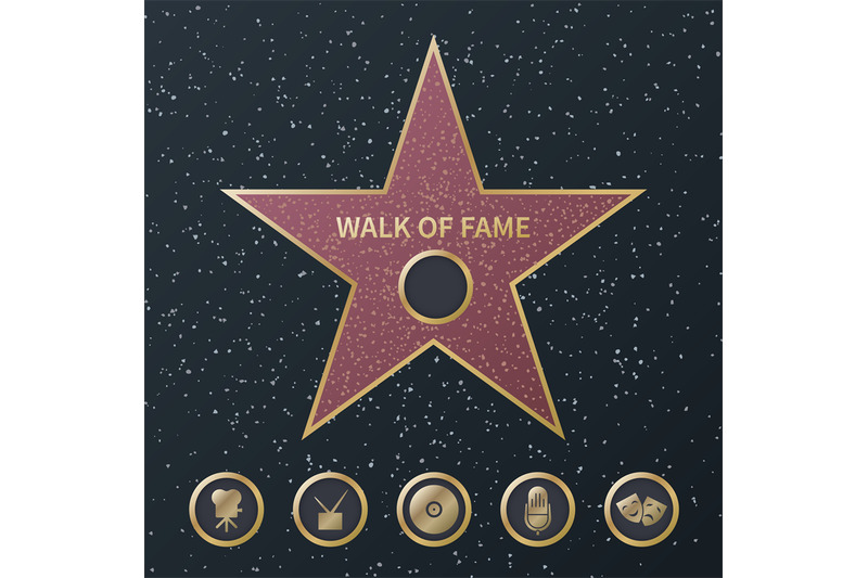 hollywood-fame-star-art-and-famous-actor-gold-star-symbol-with-five-a