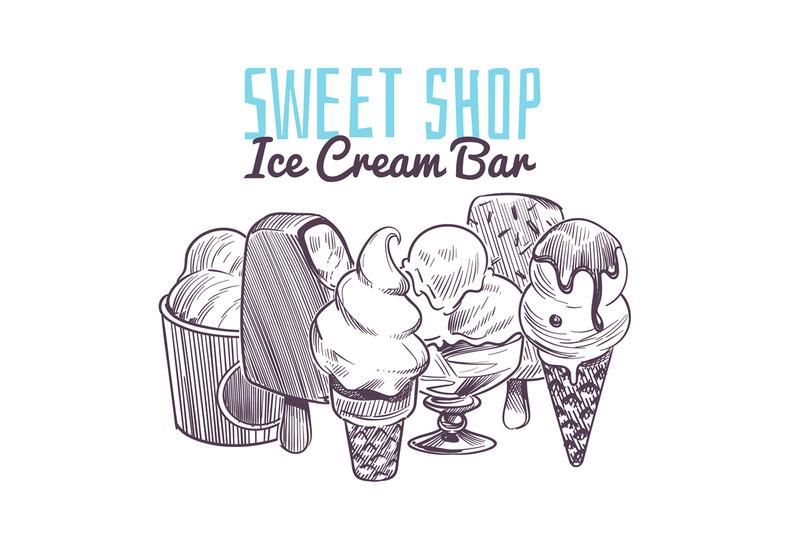 ice-cream-sketch-background-hand-drawn-frozen-creamy-desserts-wafer