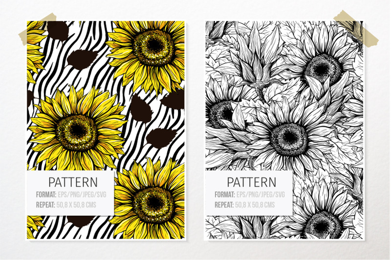 sunflower-patterns-collection