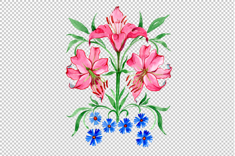 ornament-red-lilies-watercolor-png