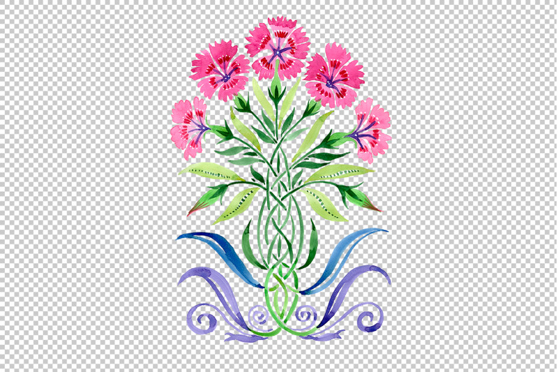 ornament-carnations-pink-watercolor-png