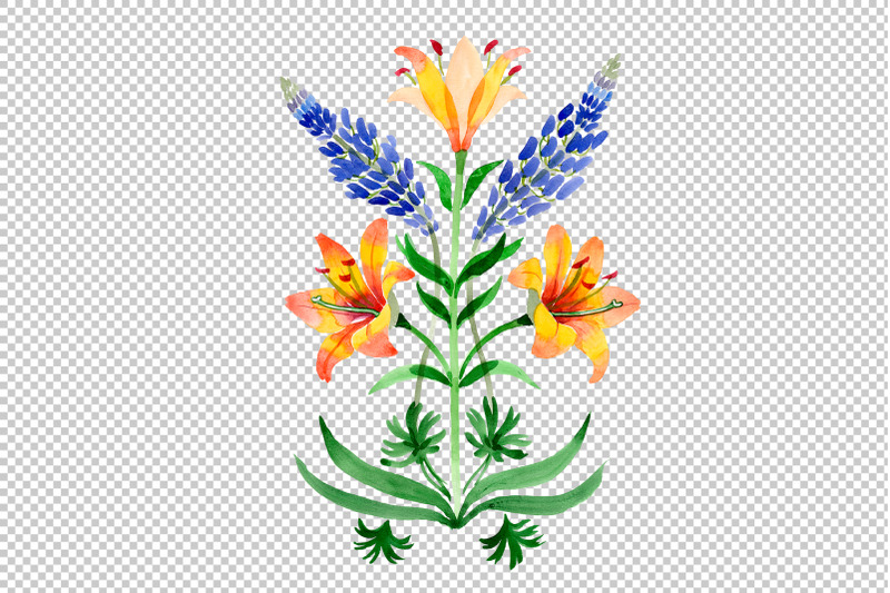 ornament-yellow-lilies-watercolor-png
