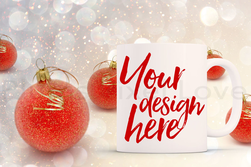 Free Christmas styled stock mug mock up (PSD Mockups)