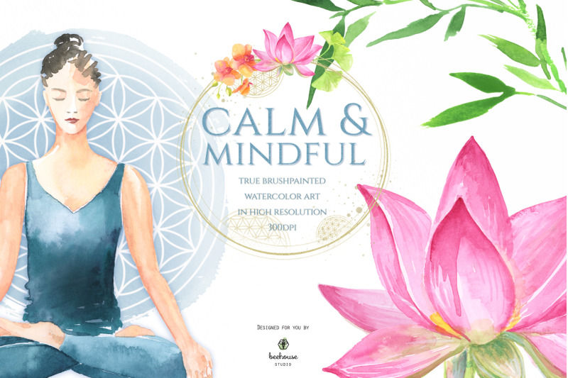 calm-amp-mindful-hand-drawn-watercolor-elements