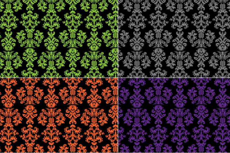 seamless-halloween-damask-patterns