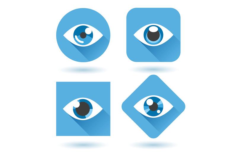 eye-blue-flat-icons-set