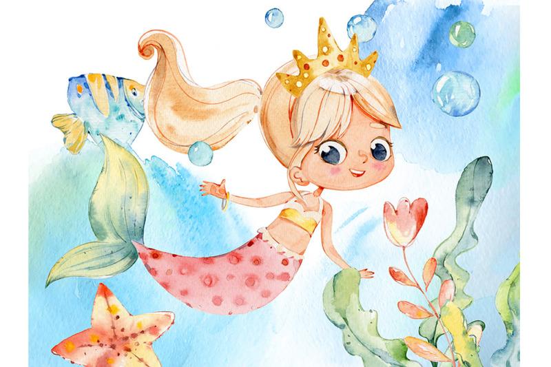 watercolor-mermaids