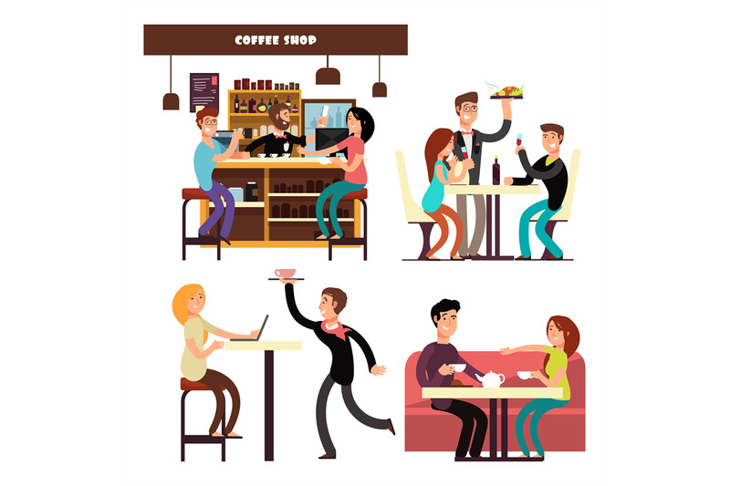 cafe-coffee-shop-restaurant-with-drinking-coffee-people-vector