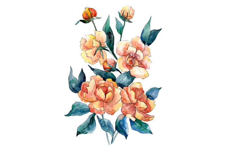 bouquet-of-flowers-dimeter-orange-watercolor-png