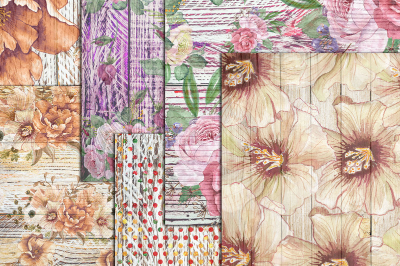 wood-paper-floral-paper-shabby-digital-paper-a4-papers