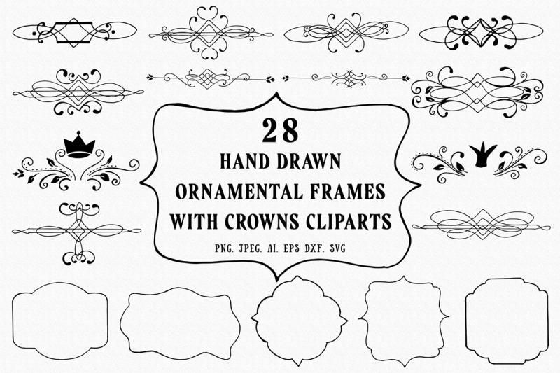 25-hand-drawn-ornamental-frames-with-crowns-cliparts