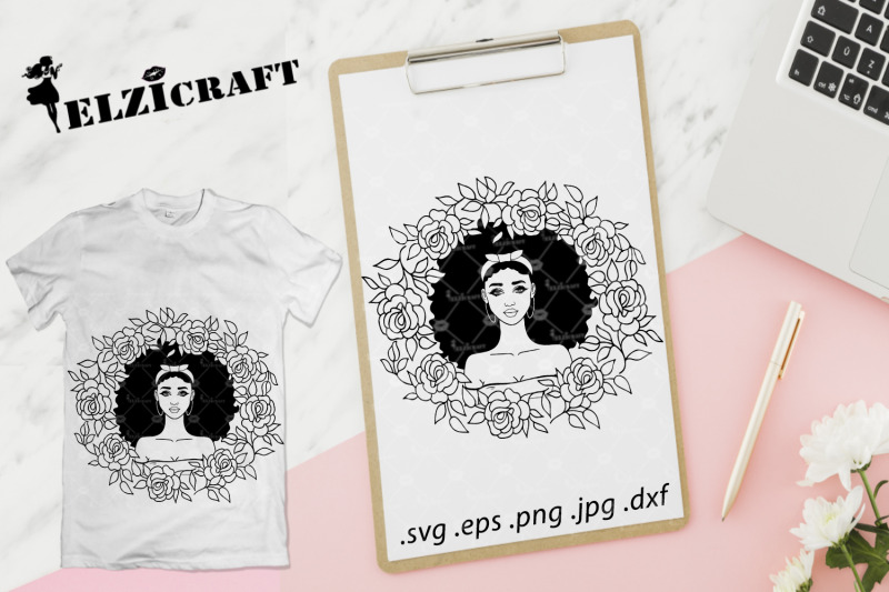 afro-girl-rose-wreath-silhouette-svg-cut-file