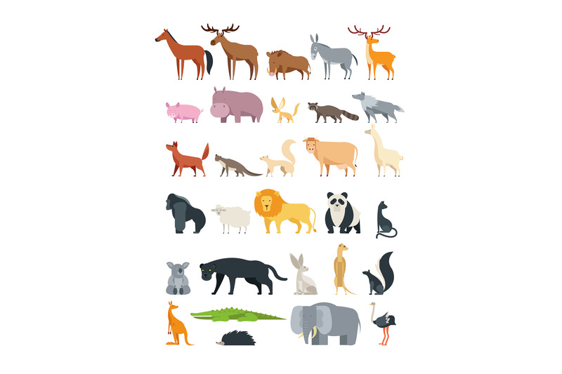 cute-cartoon-animals-forest-savannah-and-farm-animal-vector-collecti