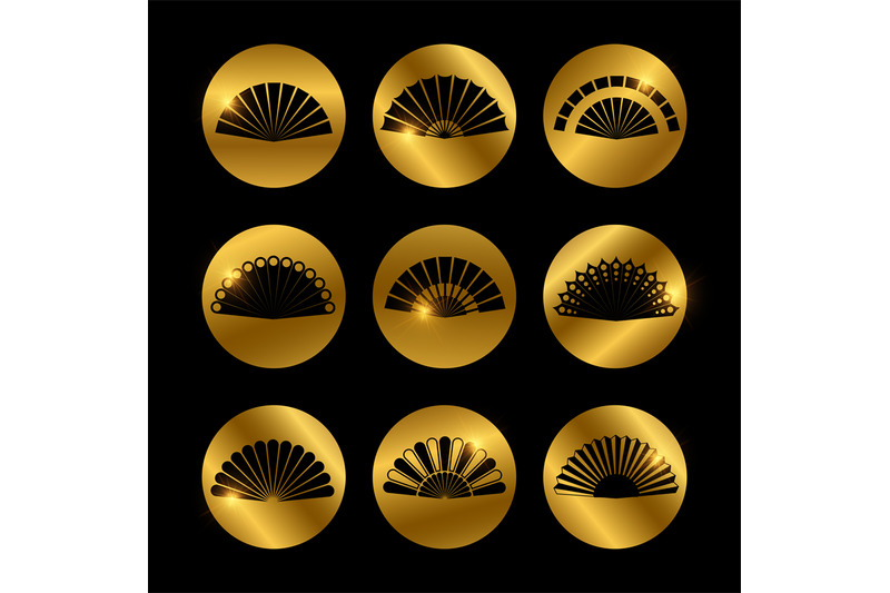 golden-icons-with-vector-fans-black-silhouette