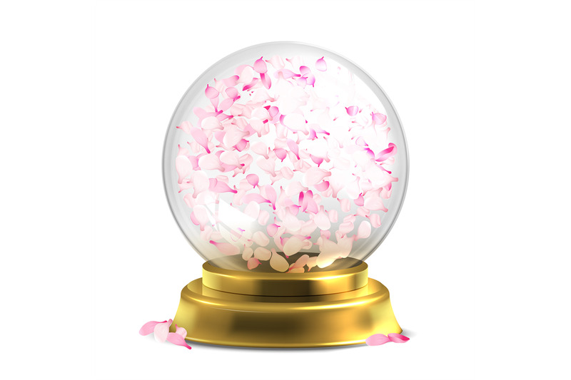 magic-ball-with-pink-petals-vector-isoated-on-white-backround