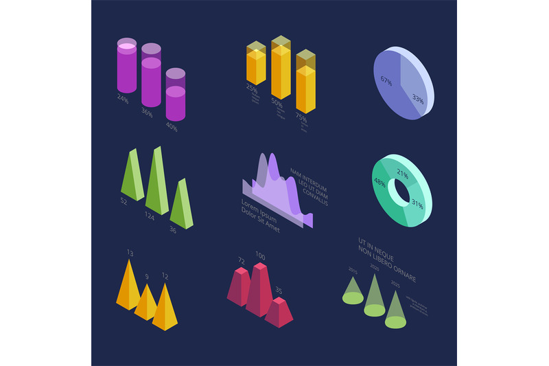 isometric-3d-business-statistics-data-charts-percentage-diagrams-for