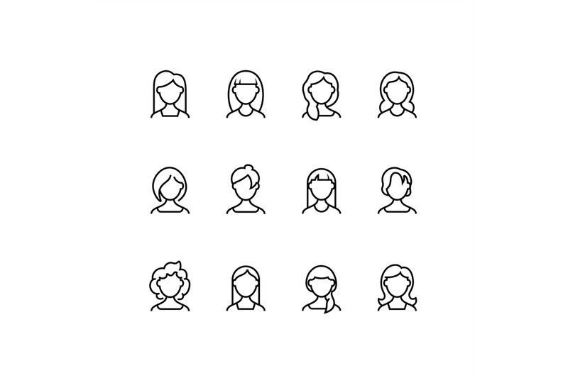 woman-face-line-icons-female-profile-outline-symbols-with-different-h