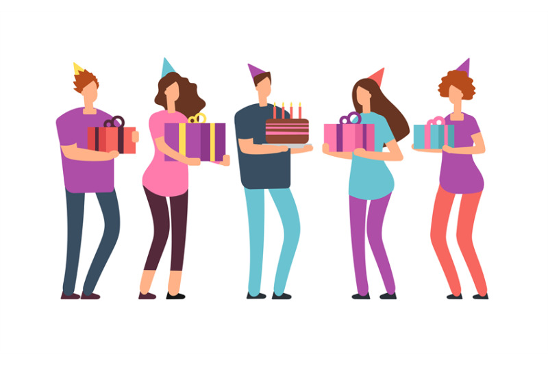 smiling-friends-with-gifts-and-cake-happy-birthday-vector-concept-wit