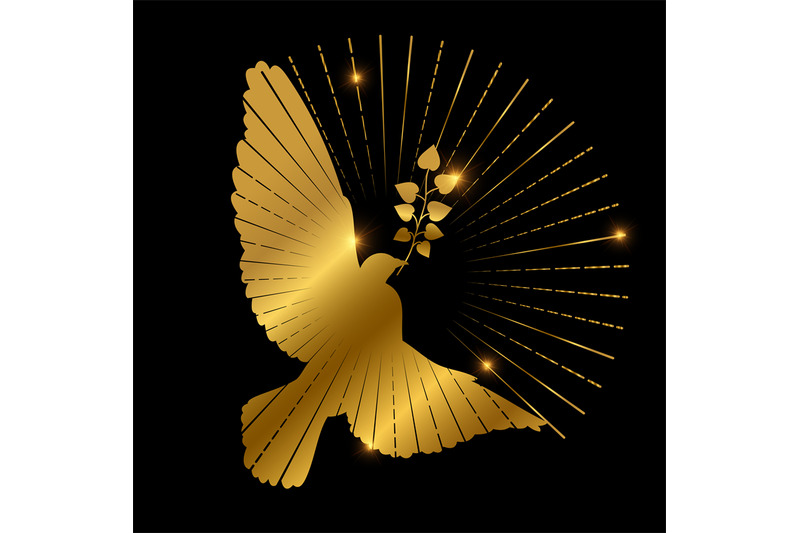 golden-dove-of-peace-logo-design-pigeon-branch-and-starburst-on-blac