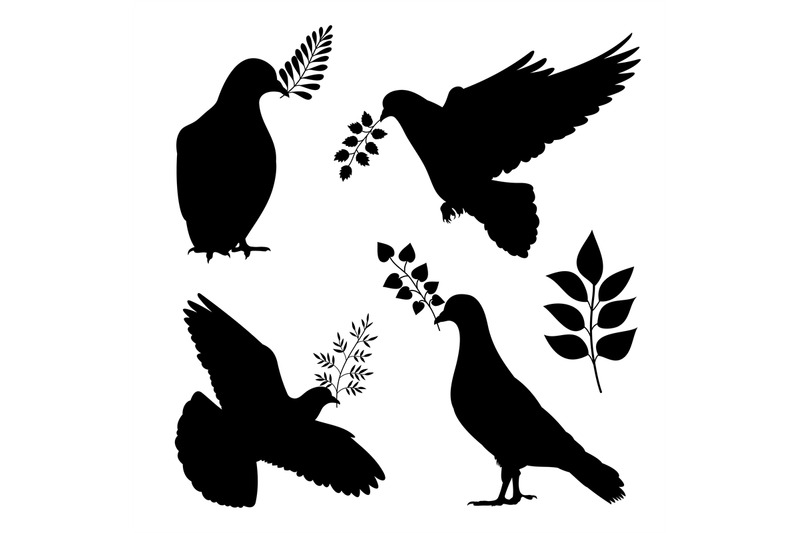 dove-of-peace-vector-silhouetes-pigeon-with-branch-isolated